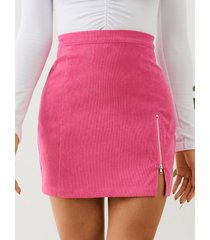 minifalda con aberturas en el dobladillo delantero con cremallera de yoins rose