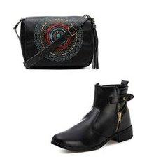 kit bota alice monteiro cano curto feminina + bolsa mandala