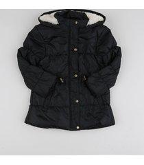 jaqueta de nylon infantil com bolsos preta
