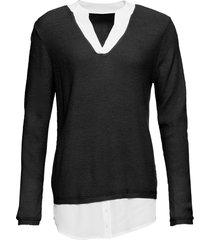 maglione con inserti di camicia (nero) - bodyflirt