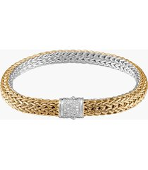 women's john hardy 'classic chain' diamond two-tone bracelet, 6.5mm