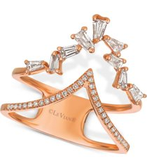 "le vian baguette frenzy diamond double ""v"" ring (1/2 ct. t.w.) in 14k rose gold"