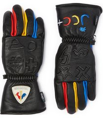 x jcc colourblock logo embroidered leather gloves