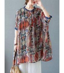 abito camicetta vintage con stampa tribale etnica plus taglia plus