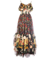 dolce & gabbana flower mesh print dress