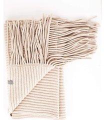 english ribbed fringe scarf
