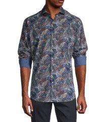 bugatchi men's plant print shirt - grey multi - size s