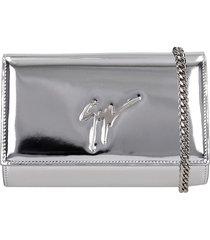 giuseppe zanotti clutch in silver leather