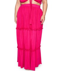 plus size women's zelie for she jungle tiered maxi skirt, size 3x - pink (plus size) (nordstrom exclusive)