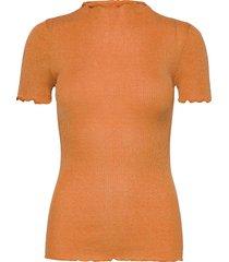 silk t-shirt regular ss w/lurex blouses short-sleeved orange rosemunde