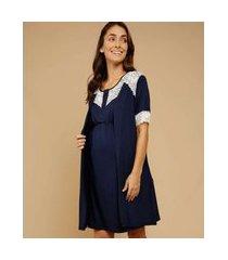 camisola feminina maternidade robe renda