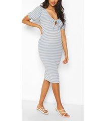 zwangerschaps geribbelde midi borstvoeding jurk met strik, blue