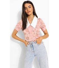 kanten blouse met contrasterende kraag, rose