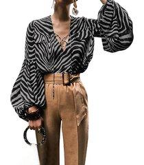 blusa de manga larga con cuello en v y diseño con cordones de celmia zebra
