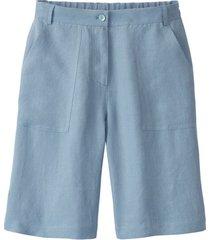 comfortabele linnen bermuda met deels elastische tailleband, jeansblauw 40