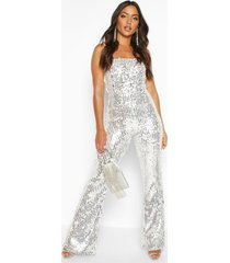 sequin cami flared leg jumpsuit, silver