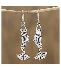sterling silver dangle earrings, 'swimming mermaids' (mexico)
