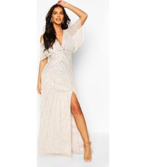 bruidsmeisje maxi-jurk met handversierde engelmouwen, grijs