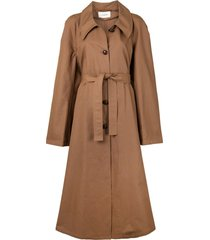 lemaire flared belted trenchcoat - brown