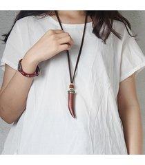 collana di legno di artigianato etnico avorio pendente collane di dichiarazione vintage lunghe per le donne