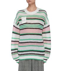 chest patch stripe mohair sweater