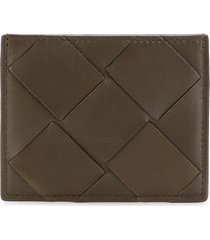 bottega veneta maxi weave card case - green