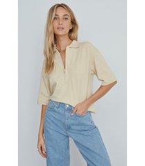 na-kd trend stickad tröja med dragkedja i kragen - beige