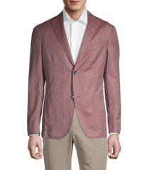 boglioli men's standard-fit striped virgin-wool & silk jacket - dusty rose - size 54 (44)