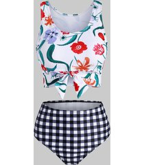 flower checkered tied high waisted tankini swimwear