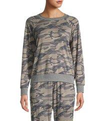 tiana b women's camo-print sweatshirt - olive multi - size s