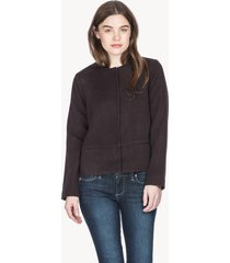 lilla p double faced wool mandarin collar jacket