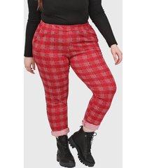 pantalón rojo minari escoces plus size