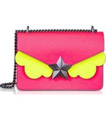les jeunes etoiles designer handbags, neon pink and yellow leather new vega medium shoulder bag