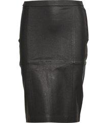 skirt stretch knälång kjol svart depeche
