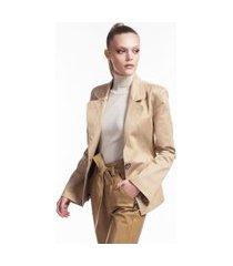 blazer caqui de algodão com botão de metal marrom ouro - 44
