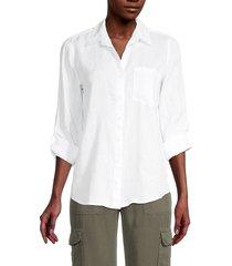 saks fifth avenue women's chest-pocket linen shirt - light lilac - size m