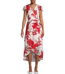 julia jordan women's flutter-sleeve printed faux-wrap dress - ivory red - size 8