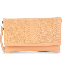 gigi new york women's carly snakeskin-embossed leather convertible clutch - melon