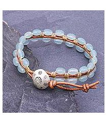 quartz beaded wristband bracelet, 'pa sak waters' (thailand)