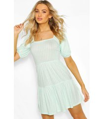 gingham smock dress, mint