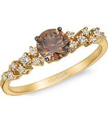 14k honey gold, chocolate diamond, vanilla diamonds, and nude diamond ring