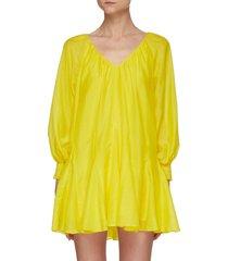 'talie' deep v-neck puff sleeve mini dress