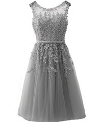kivary sheer tulle bateau tea length short lace pearls prom homecoming dresses g