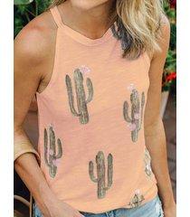 camiseta sin mangas con estampado de cactus en naranja