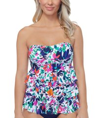 island escape sunny days printed tiered tankini top, created for macy's women's swimsuit