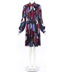 carolina herrera 2019 printed satin shirt dress red/purple/floral print sz: s