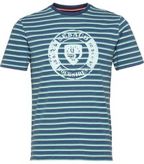 docksides striped logo tee t-shirts short-sleeved blå sebago