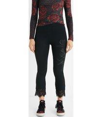 slim lace leggings - black - xl