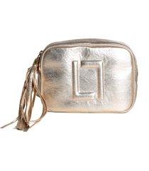 bolsa feminina transversal metalizada luz da lua com barbicacho