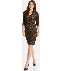 women's karen kane scalloped lace sheath dress, size small - black